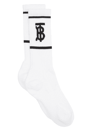 Burberry Monogram motif intarsia socks - White