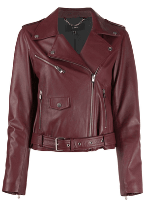 Arma belted biker jacket - Red