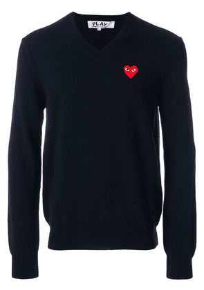 Comme Des Garçons Play Embroidered heart sweater - Blue