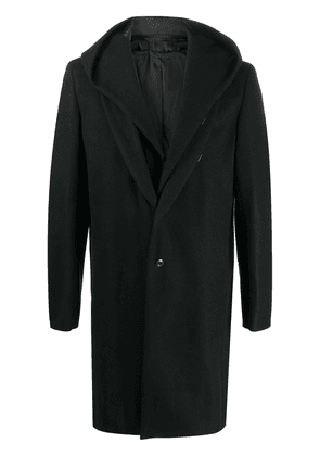 Attachment single breasted hooded coat - Black