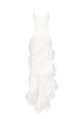 16Arlington tiered feather detail maxi dress - White