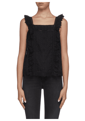 Katie button back sleeveless lace top