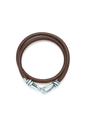 Paloma Picasso® Knot double braid wrap bracelet of leather and silver, small