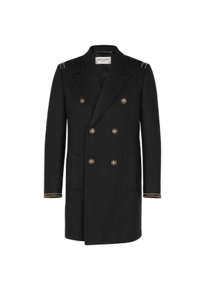Saint Laurent Black Double-breasted Wool Coat