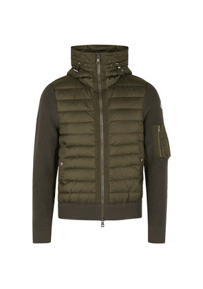 Moncler Tricot Army Green Shell And Wool-blend Jacket