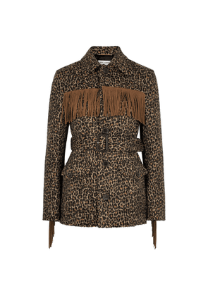 Saint Laurent Leopard-print Fringed Wool-blend Jacket