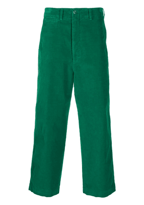 Gucci cat-embroidered wide-leg trousers - Green