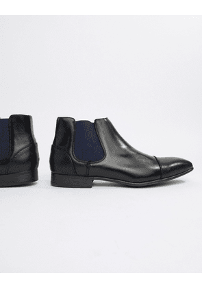 Truffle Collection Chelsea Boot with Paisley Gusset in Black