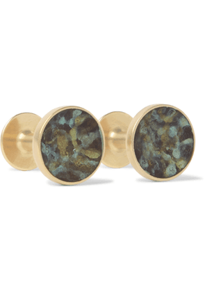 Alice Made This - Bayley Marble-Effect Gold-Tone Cufflinks - Men - Green