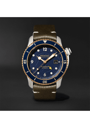 BREMONT - Project Possible Limited Edition Automatic GMT 43mm Titanium, Bronze and Leather Watch, Ref. PROJECT-POSSIBLE-R-S - Men - Blue