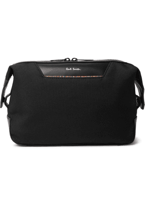 PAUL SMITH - Embroidered Leather-Trimmed Nylon Wash Bag - Men - Black