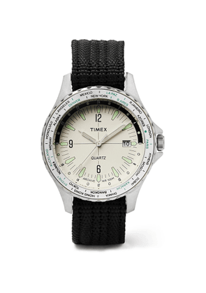 Timex - Archive Navi World Time 38mm Stainless Steel and Nylon-Webbing Watch - Men - White