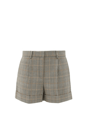 Bella Freud - Prince Of Wales-checked Wool Shorts - Womens - Grey