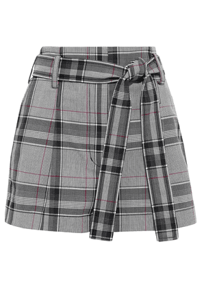 3.1 Phillip Lim Belted Prince Of Wales Checked Jacquard Shorts Woman Midnight blue Size 00