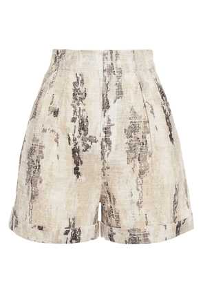 Equipment Pleated Printed Linen Shorts Woman Beige Size 2