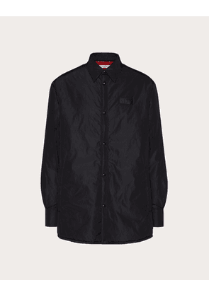 Valentino Uomo Padded Shirt With Vltn Tag Man Black/ Red 100% Poliammide 46
