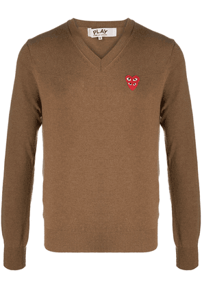 Comme Des Garçons Play logo heart embroidered jumper - Brown