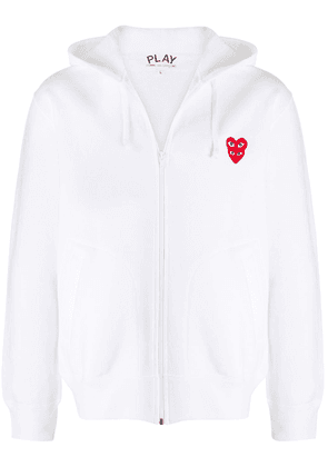 Comme Des Garçons Play embroidered heart zip-front hoodie - White