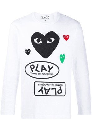 Comme Des Garçons Play multi-logo long-sleeved T-shirt - White