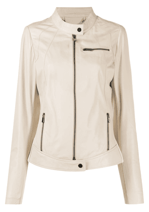 Arma zipped biker jacket - Neutrals