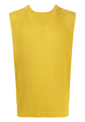 Homme Plissé Issey Miyake pleated printed T-shirt - Yellow