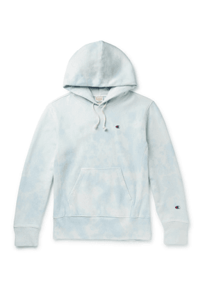 Champion - Logo-Embroidered Tie-Dyed Fleece-Back Cotton-Blend Jersey Hoodie - Men - Blue