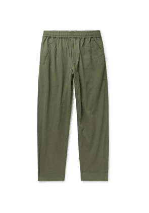 Folk - Assembly Tapered Crinkled-Cotton Trousers - Men - Green
