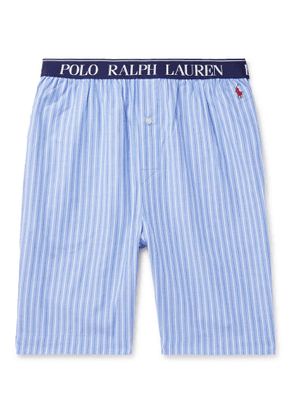 POLO RALPH LAUREN - Logo-Embroidered Striped Cotton Pyjama Shorts - Men - Blue