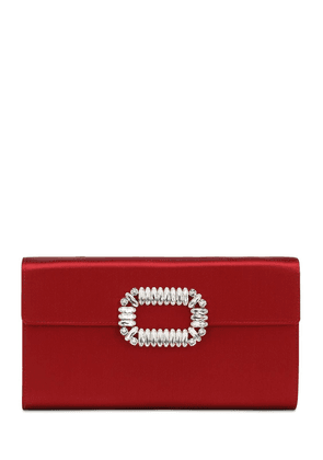 Embellished Satin Envelope Clutch