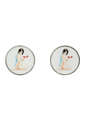 Paul Smith Silver and White Naked Lady Cufflinks