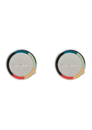 Paul Smith Silver and Multicolor Round Logo Cufflinks