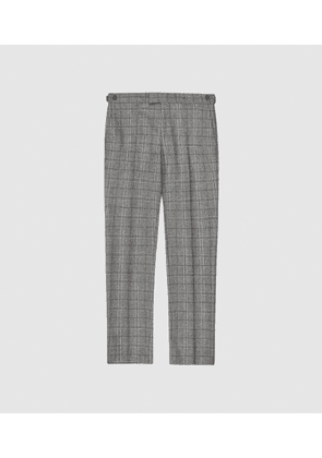 Reiss Camp - Tailored Checked Trousers in Grey, Mens, Size 28