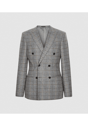 Reiss Camp - Double Breasted Checked Blazer in Grey, Mens, Size XS