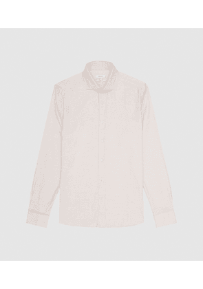 Reiss Wall - Brushed Cotton Shirt in Oatmeal, Mens, Size XS