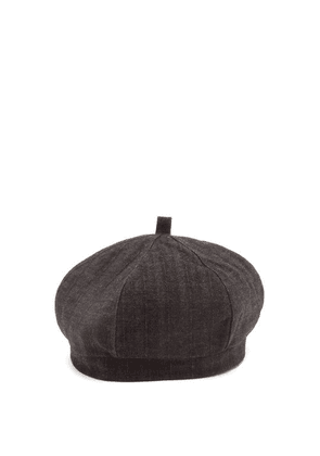 Our Legacy - Striped Tweed Beret - Mens - Black