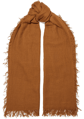 Chan Luu Frayed Cashmere And Silk-blend Gauze Scarf Woman Light brown Size --