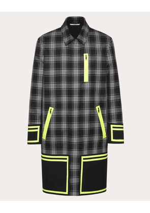 Valentino Uomo Checked Coat With Fluo Heat-sealed Details Man Grey Virgin Wool 100% 50