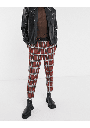 ASOS EDITION tapered suit trousers with check jacquard