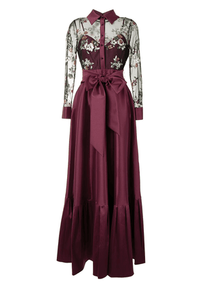 Badgley Mischka bow detail draped gown - Purple