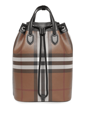 Burberry check print backpack - Brown