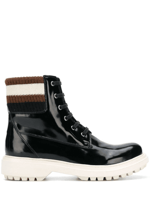 Geox varnished lace-up boots - Black