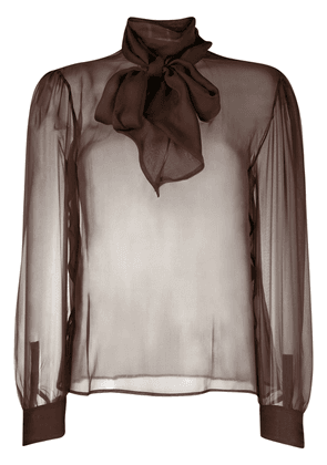 Saint Laurent semi-sheer pussy-bow blouse - Brown
