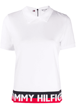 Tommy Hilfiger logo colour-block polo top - White