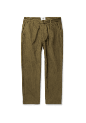 Folk - Signal Tapered Pleated Cotton-Corduroy Trousers - Men - Brown