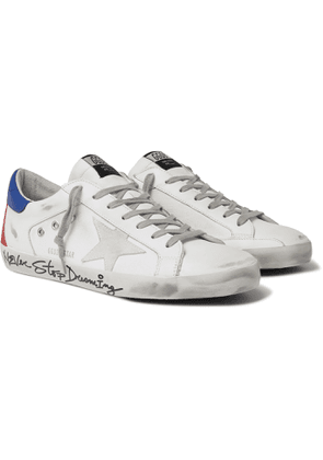 Golden Goose - Superstar Distressed Leather, Canvas and Suede Sneakers - Men - White