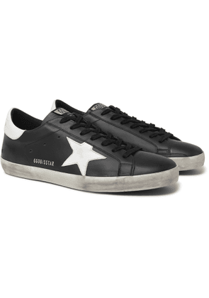 Golden Goose - Superstar Distressed Leather and Suede Sneakers - Men - Black