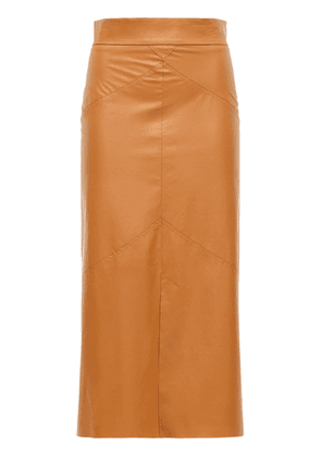 Domi Faux Leather Midi Skirt