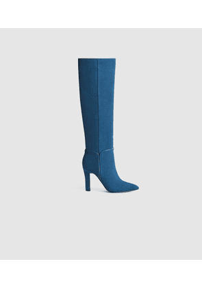 Reiss Eline - Suede Knee High Boots in Blue, Womens, Size 3