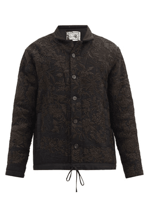 By Walid - Jono Upcycled Silk And Wool Patchwork Jacket - Mens - Navy