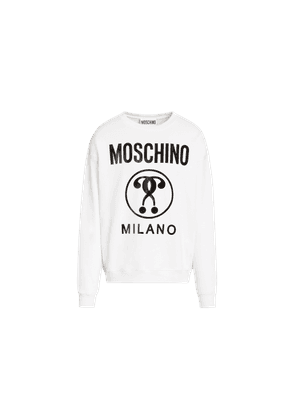 Cotton Sweatshirt With Double Question Mark Print
